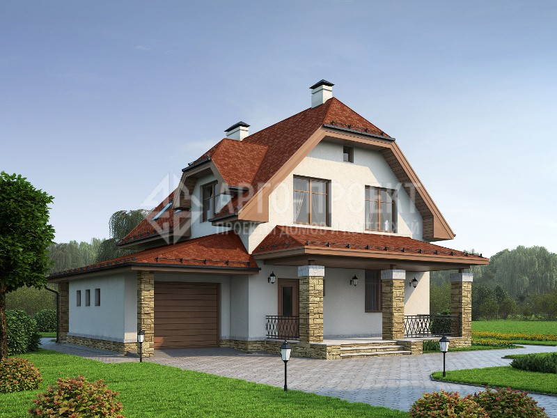 Проект дома 3-20b Проект экономичного загородного дома с гаражом